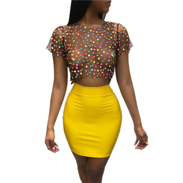 743e7a9e682 Fashion Dress Women 2018 Summer Dresses Party Club Wear Mesh Dot Top+Yellow  Mini Dress