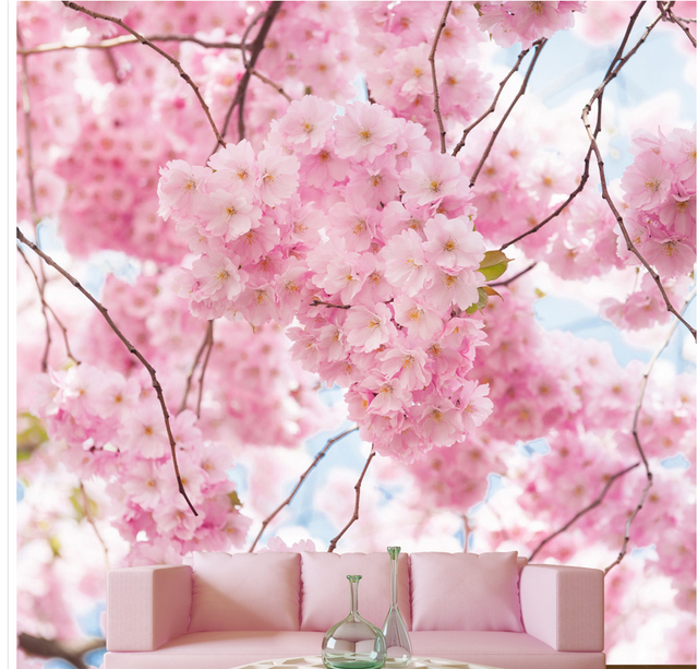 3D Pink Cherry Blossom Mural Wallpapers For Living Room Home Decoration 3d  Stereoscopic Wallpaper