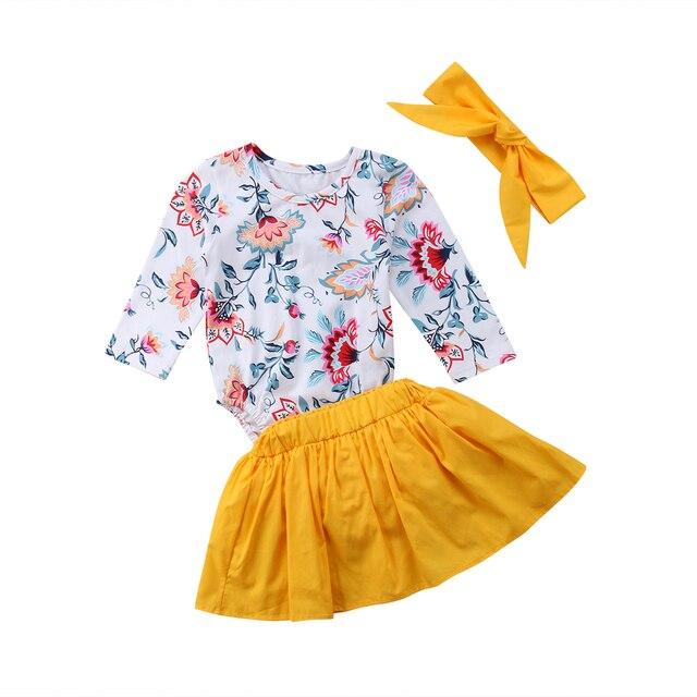 358a22be68f Newborn Baby Girl clothes set Floral long sleeve Romper Tops+yellow skirt +headband  3Pcs