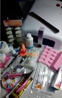 Pro 36 W Lampa UV ŻEL Różowy & 15 Szczotka 100 sztuk tipsy Nail Art Narzędzie Cleanser Plus Zestawy
