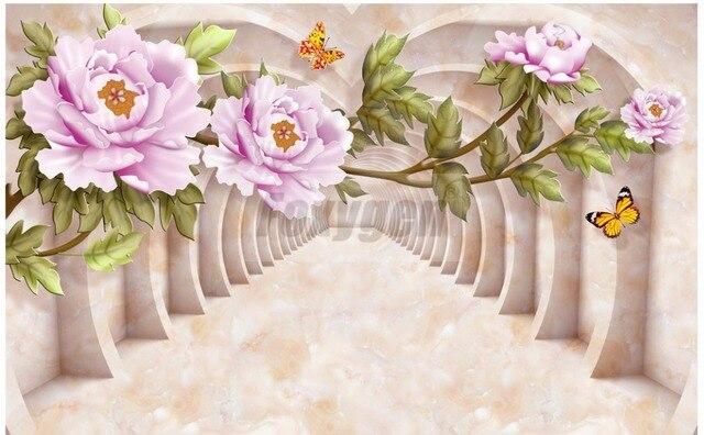 Foto personalizzata arte carta da parati d disegni di fiori tv