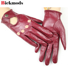 2018 new women 100% leather gloves fashion hollow short style spring and summer driving ladies