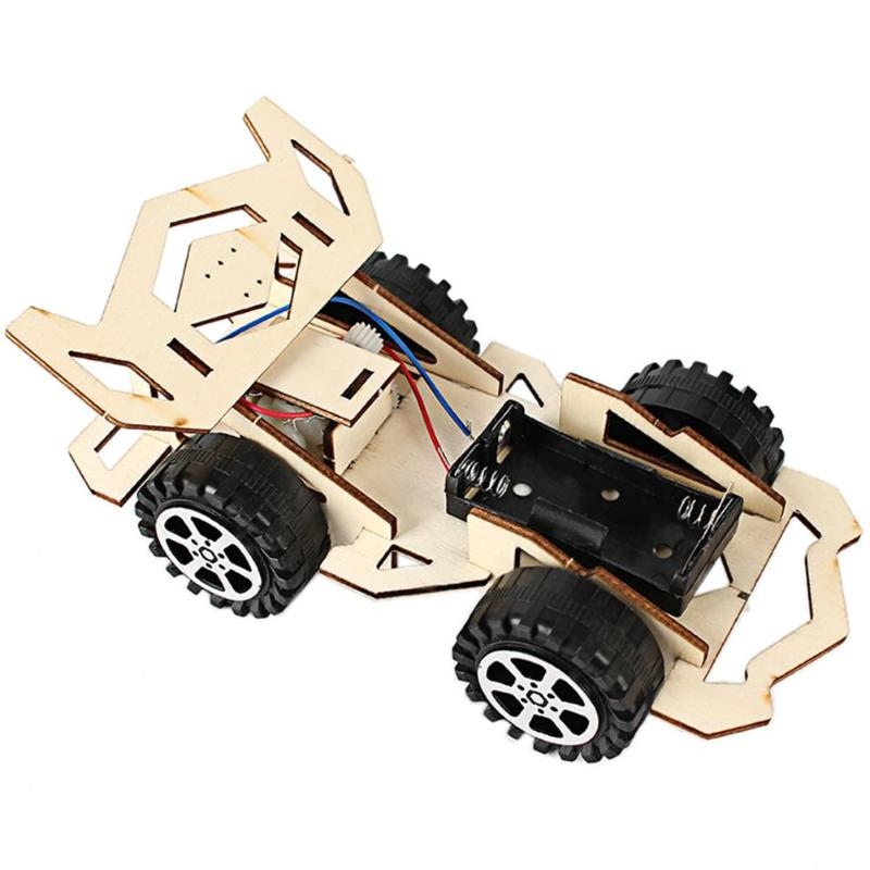 DIY Electric Wood Racing Car Assembled Puzzles Scientific Experiment Educational Mini Model Early Learning Toy For Children Kids