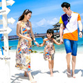 Family Look !  Matching Mother Daughter Dresses Bohemian Sleeveless Flower Printing Beach Maxi Dress and Father Son T-shirts