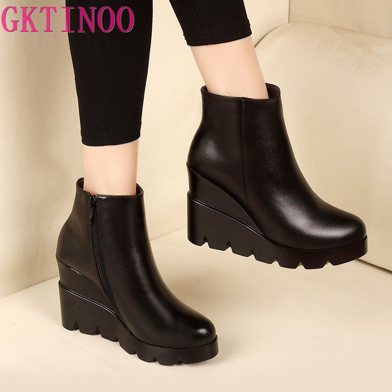 2019 autumn winter soft leather platform high heels girl wedges ankle boots shoes for woman fashion