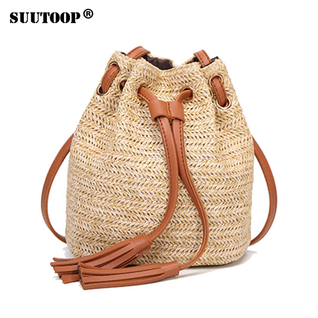 2018 Hot Straw Bags Women Summer Rattan Bag Handmade Woven Beach Cross Body Circle Bohemia Handbag Bali