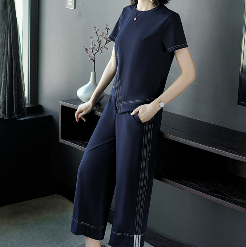 Summer new brand design European fashion short sleeves shirt top & wide-legged pants 2 pcs clothing set wome stripe blue suit