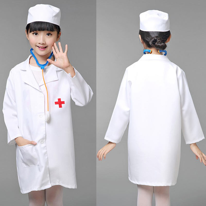 Nurse Cosplay Costume for Girls Doctor Costume Nurse Uniform Clothing Halloween Costume for Girls Kids Party With Hat