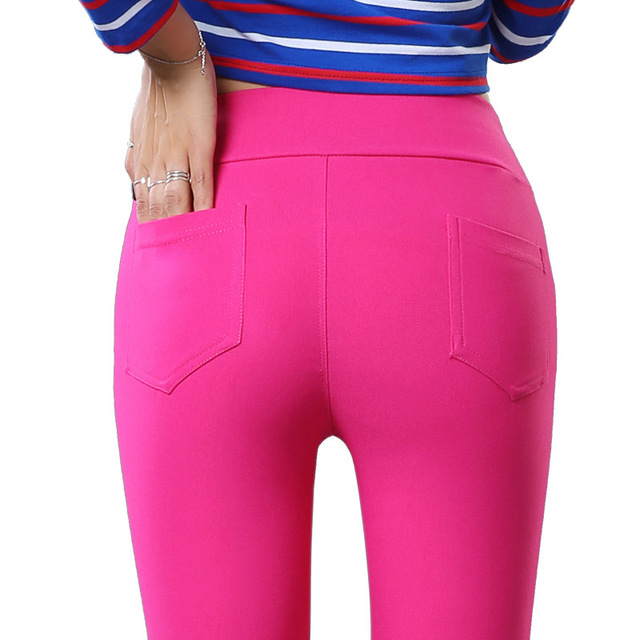 2019 Summer Women High Elastic Waisted   Pants   Sweet Candy Color Pencil   Pants   Female Stretch Trousers   Capris   Slim Casual Leggings