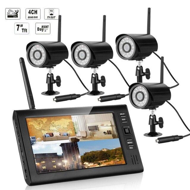 4 IR Wireless Home Security Cameras CCTV System Outdoor 7\'\' Mini ...
