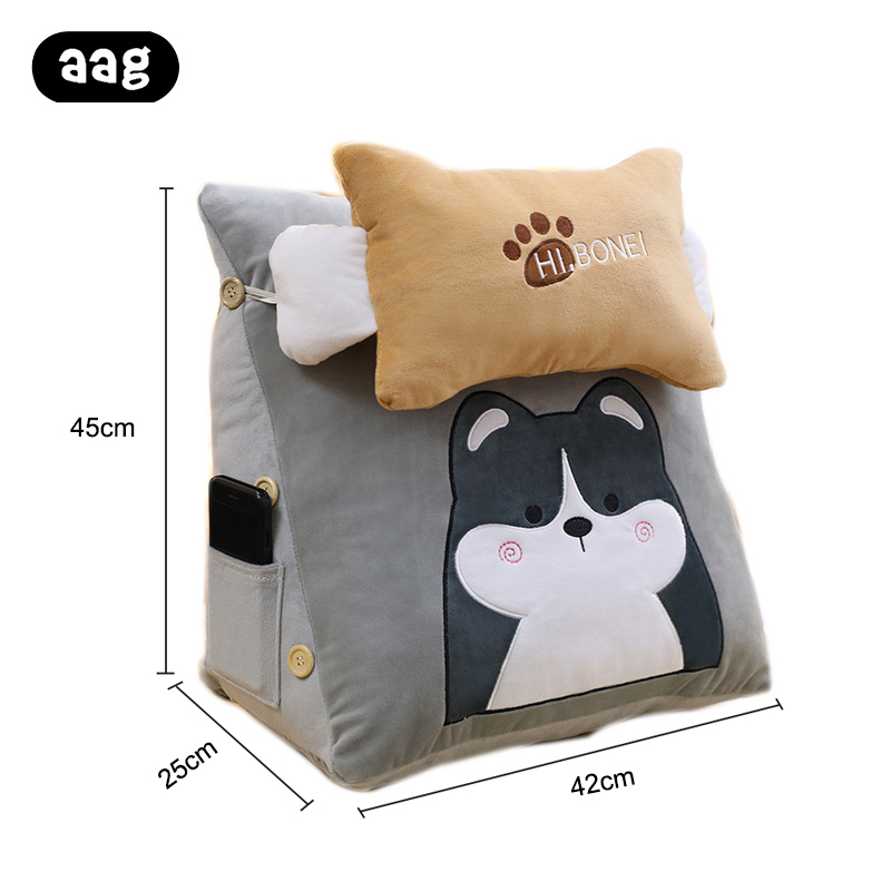 Cute Cartoon Animals Plush Lumbar Pillow Bed Rest Reading Chair Pillow Cushion Washable Office Chair Waist Back Pillow with Blanket for Sofa Car and Office Bear