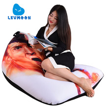 LEVMOON Beanbag Sofa Chair Football Star Seat Zac Comfort Bean Bag Bed Cover Without Filling Cotton Indoor Beanbags Lounge Chair