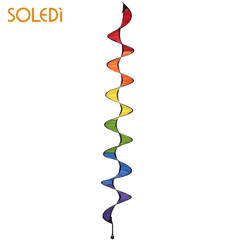 Spiral Windmill Colorful Rainbow 3D Pinwheel Cloth Fashion Home Garden Beautiful Wind Spinner Garden Tool Drop Shipping