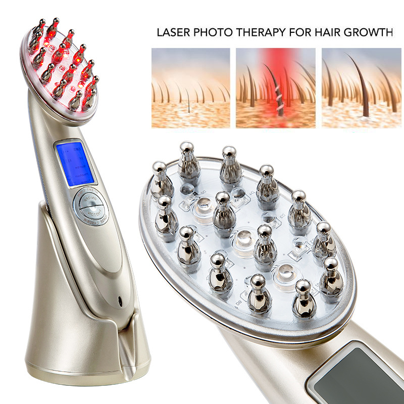 Anti Hair Loss Laser Massager Comb RF EMS Nurse LED Photon Laser Stimulate Head Scalp Repair