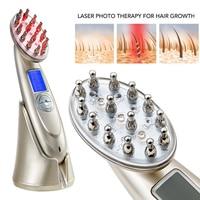 Anti Hair Loss Laser Massager Comb RF EMS Nurse LED Photon Laser Stimulate Head Scalp Repair Hair Regrowth Brush Massager
