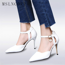 купить plus size 34-47 Fashion Women Pumps Ladies Sexy Pointed Toe super High Heels Office Ankle Strap Sandals Party Club Wedding shoes дешево