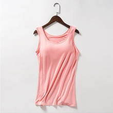 2018 Summer Women Modal Soft Tank Tops Built In