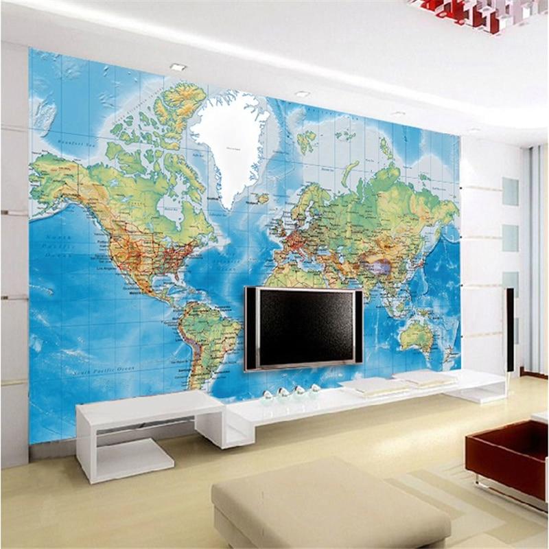 Beibehang Room  Papel De Parede  3 D TV Setting Wall Paper  Research World Wallpaper Huge Mural Maps Wallpaper For Walls 3 D