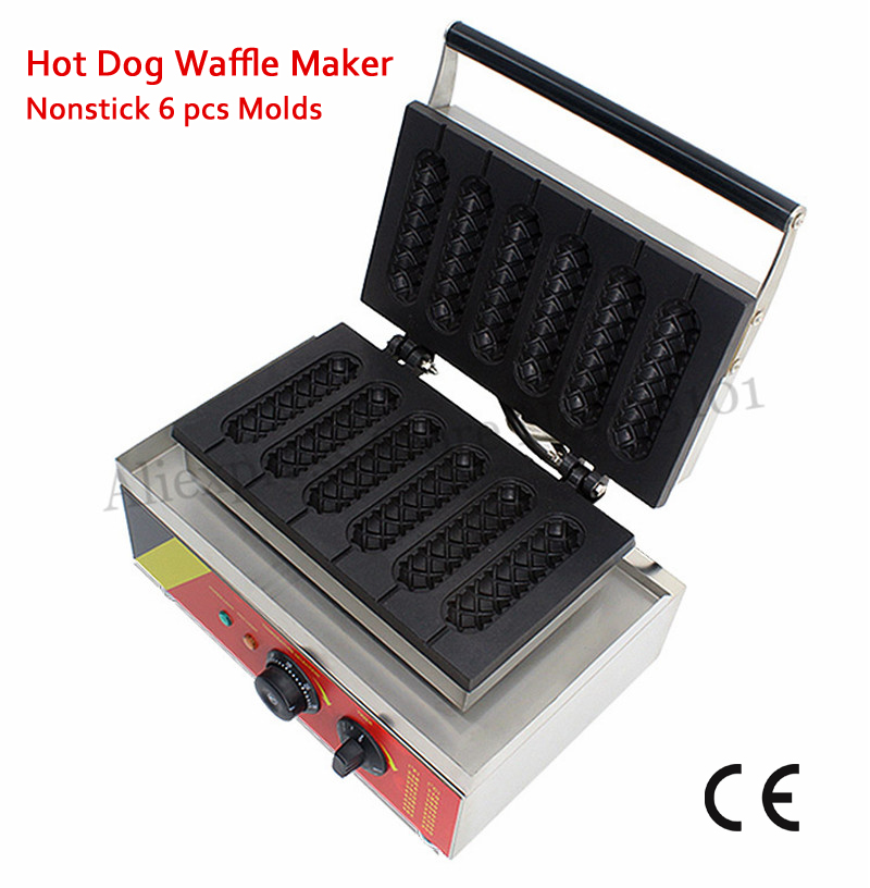 6 Molds Electric French Muffin Hot Dog Baker Machine 110v 220v Lolly Hotdog Waffle Maker Professional Snack Food Device