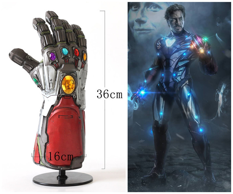 2019 Avengers Endgame Superhero Iron Man Tony Stark Thanos Infinity Stone  LED Light Cosplay Gloves Arm Armor PVC Hand Gauntlet