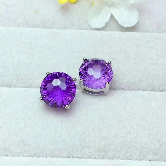 Lanzyo 925 Silver Synthesis Amethyst Stud Earrings Fashion Gift