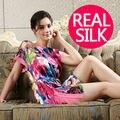 100% camisolas de seda pura das mulheres Do Vintage vestidos de camisola DE SEDA camisola DE CETIM sleepwear Casa de Verão estilo vestido cinto