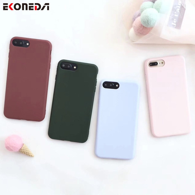 reputable site 29340 c63c2 US $2.13 |Aliexpress.com : Buy EKONEDA Plain Girly Silicone Case For iPhone  X 6 6S 6Plus Case Soft TPU Protect Phone Cover For iPhone 8 8Plus 7 7Plus  ...