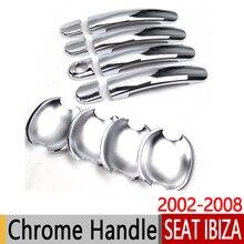 Для SEAT Ibiza 2002-2008 6L хромированные дверные ручки крышки отделка Набор 2004 2005 2006 FR Cupra наклейки на автомобиль стайлинга автомобилей