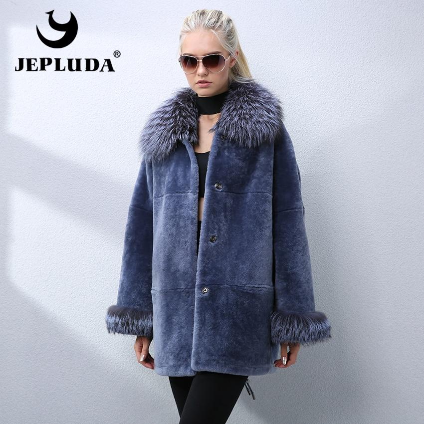 Lâche Style Tonte Avec Élégant Renard Collier De Nouvelle Mode Lady Moutons Fourrure Naturel Femmes Jepluda Manteau Veste Réel Bleu Des 7x5wa0qAO