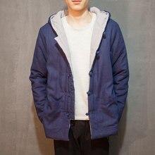 Китай стиль хлопок белье зима мужские с капюшоном пальто ретро случайный утолщаются хлопка ватник мужской парки верхней одежды