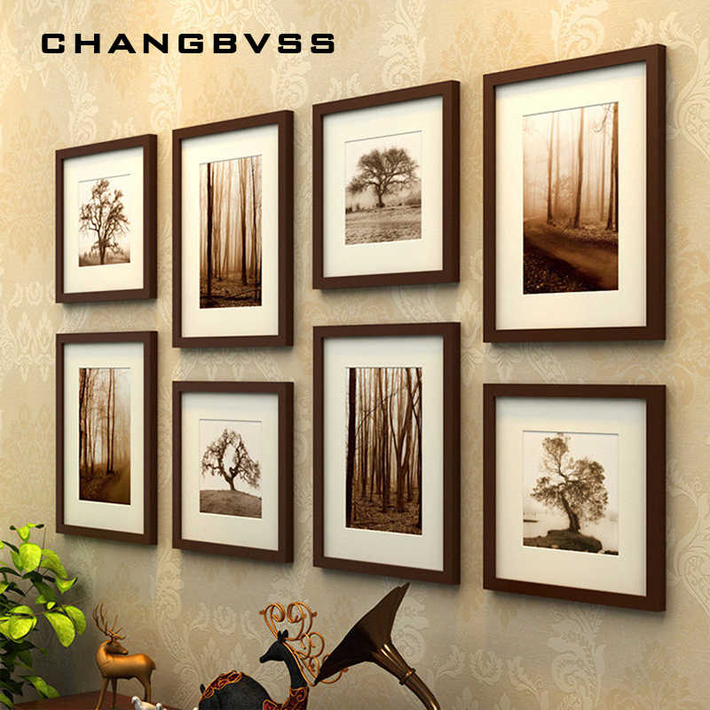 Simple wooden photo wall photo frame background wedding picture frames family wall hanging photo frame black 8 pcs/set