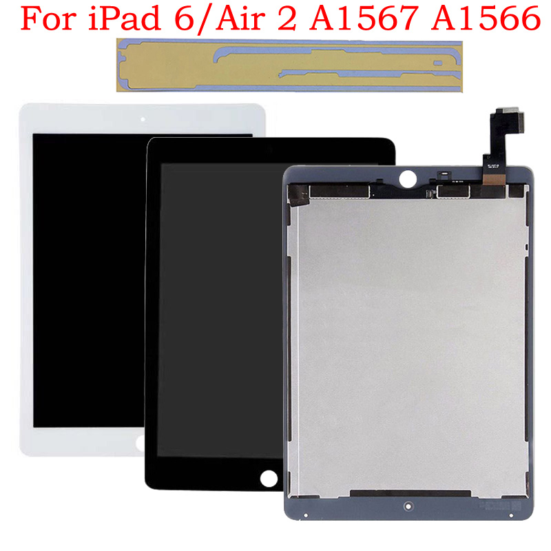 New Original LCD For IPad Air 2 For IPad 6 A1567 A1566 LCD Display Touch Screen Digitizer Assembly White & Black With Adhesive