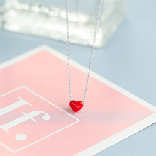 New arrival 925 Sterling Silver Necklace Fashion Collier Cute Tiny Red Glaze Heart Pendant Necklace For Women Girls Lady Gifts