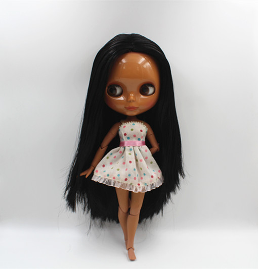 Blygirl Blyth doll Nude Dolls Black Straight Hair Joint Body Dolls Dark Skin 19 Joint DIY Dolls Can Change Makeup