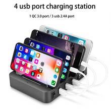 Wielu usb stacja ładowania dla samsung huawei QC3.0 uchwyt ładowarki 4 port ładowania stacja dokująca do iPhonea xiaomi tabletki ue usa UK AU wtyczka