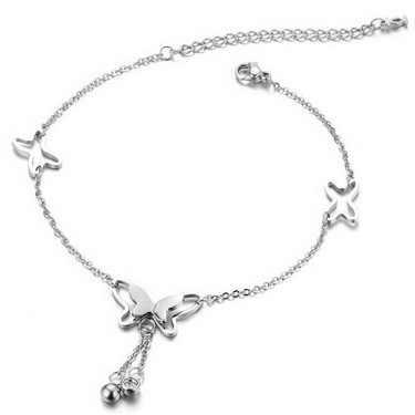 Модные, в форме бабочки подвесные ножные браслеты для женщин богемные розовое золото серебро цвет ножной браслет Ссылка пляжные вечерние ювелирные изделия