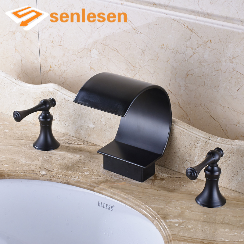 4 Types Oil Rubbed Bronze Widespread Spout Double Handles Wash Basin WC Mixer Faucet allen roth brinkley handsome oil rubbed bronze metal toothbrush holder