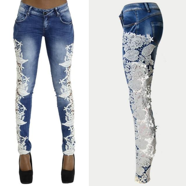Damas de encaje flaco jeans mujer delgada pantalones de mezclilla sexy pantalones l piz ahueca - Decorar pantalones vaqueros ...
