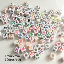 Meideheng Acrylic Multiple constellation English letters beads square for bracelets jewelry making fluorescent color 100pcs/bag