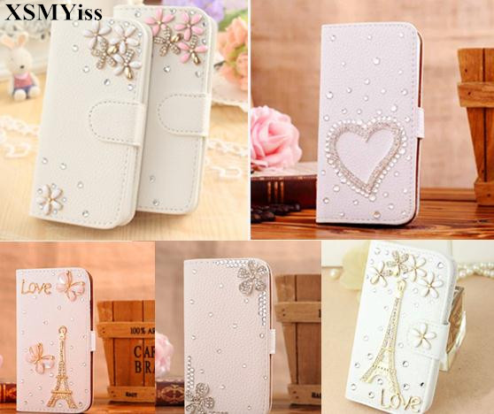 XSMYiss Luxuly Handmade Bling Diamond Rhinestone PU Leather Filp Cover Wallet Case for iphone X 5C 5S 6 6SPLUS 7 8 PLUS