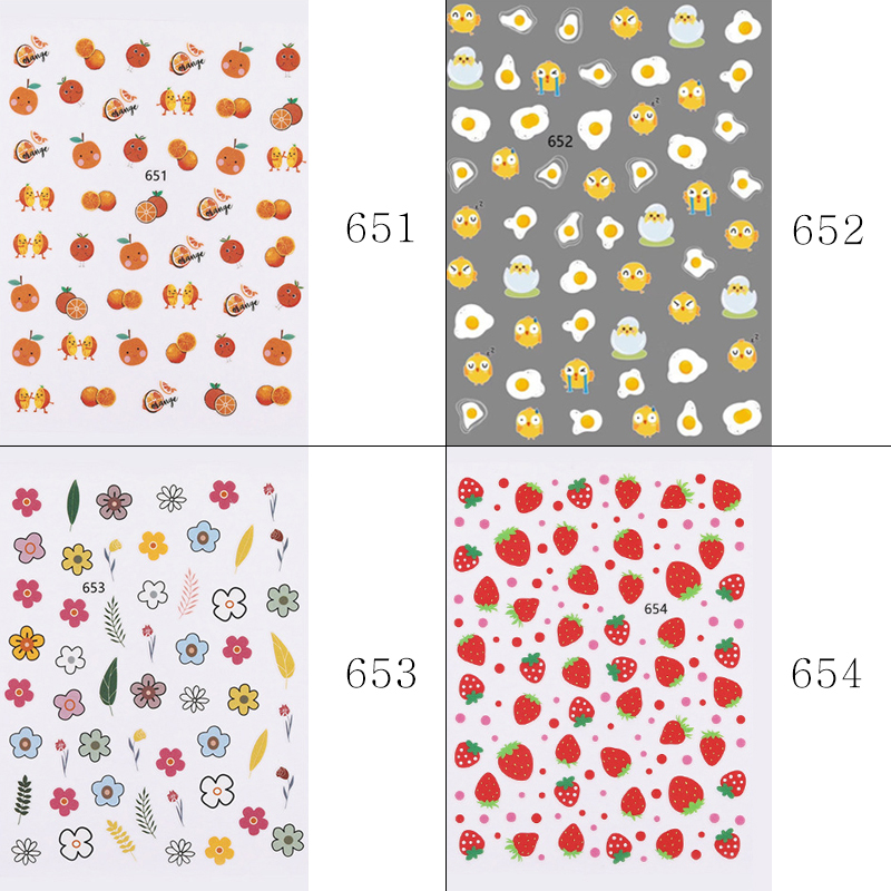 Nail Sticker Kim Hyun A Style Nail Decal Flower Strawberry Egg Spring and Summer Design Stickers Press on Nails Manicure (5)