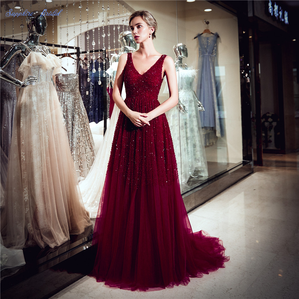 Sapphire Bridal Vestido De Festa 2019 New Arrival A Line Luxury Long Burgundy Formal Beaded Sexy Double V Neck   Evening     Dress