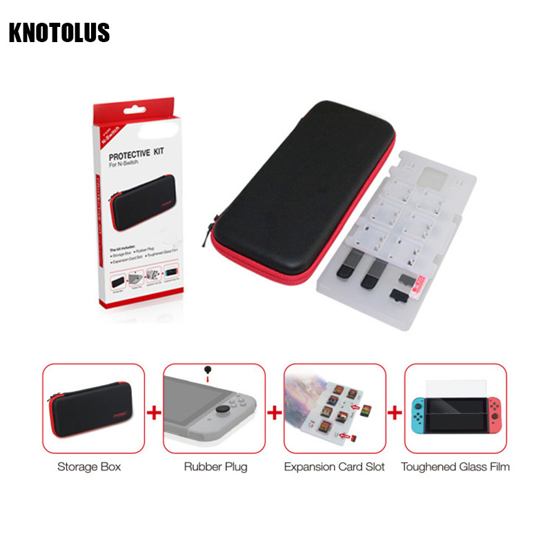 4 in 1 Protective Gaming Accessory Kit For nintend Switch case Tempered film Host button cap expansion card slot Set