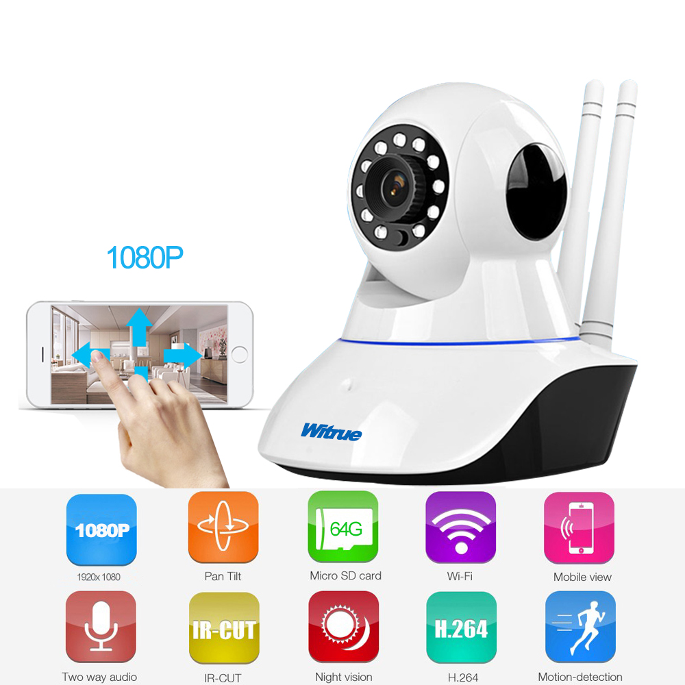 Witrue 1080P Wireless IP Camera Wi-fi HD Video Surveillance Camera P2P Night Vision CCTV Home Security camera Wifi Baby Monitor howell wireless security hd 960p wifi ip camera p2p pan tilt motion detection video baby monitor 2 way audio and ir night vision
