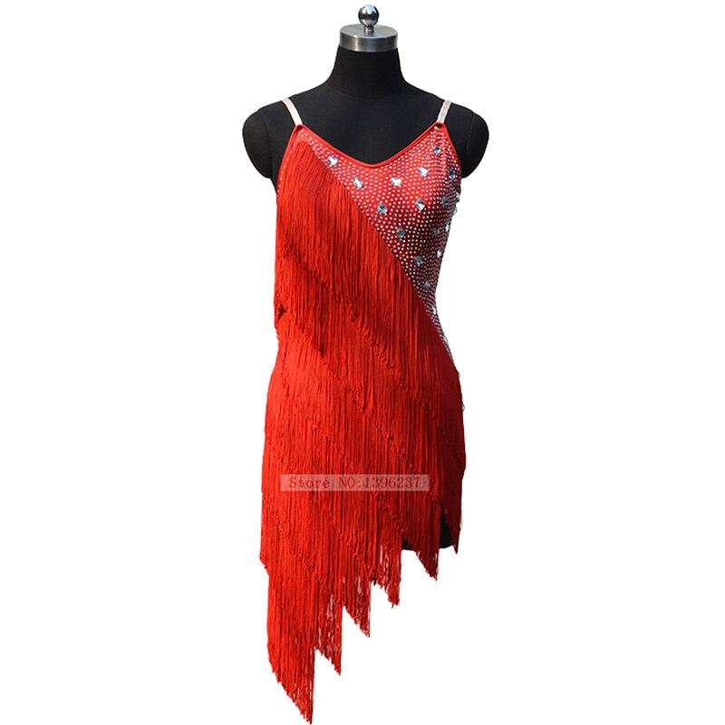 Danse latine robe femmes 2019 nouveau été 11 couleur Sexy classique gland Qia Qia Samba danse latine jupe compétition Dreess
