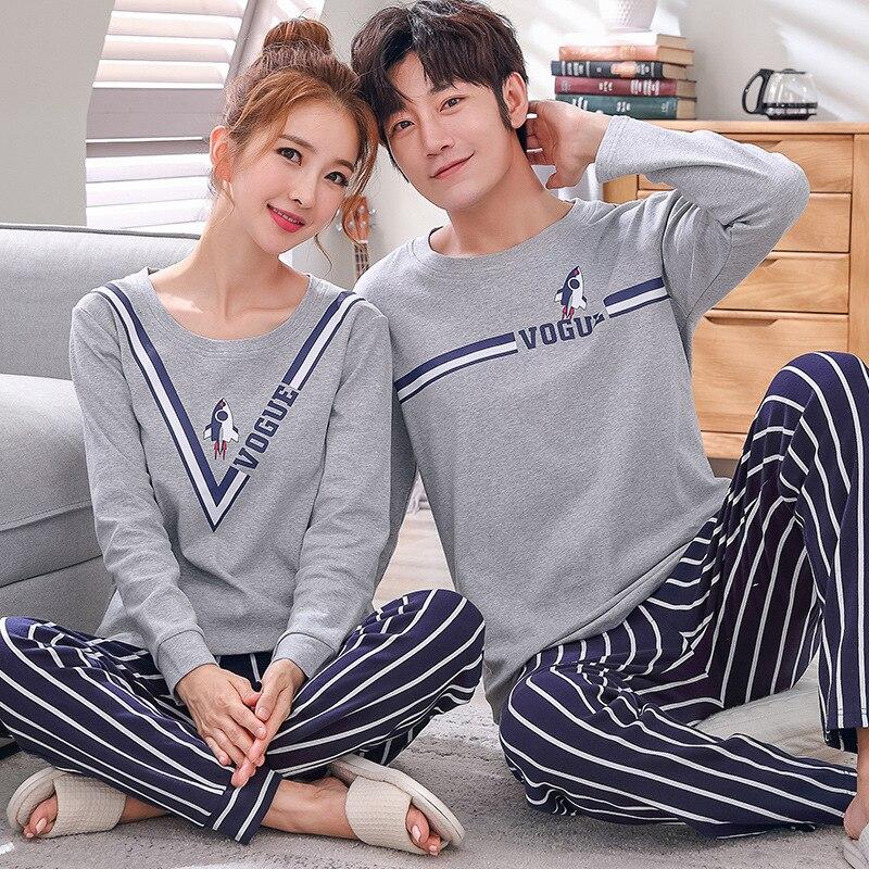 Combinando Conjunto de Pijama Casal Pijamas De Algodão de Manga Longa Sleepwear Dele-e-sua Casa Terno Pijama Para Homem Amante mulher Roupas Dos Amantes