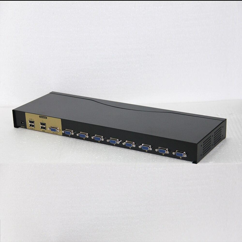 Charmvision UK801R 8 ports commutateur KVM USB ordinateur commutateur monté sur rack 4 USB 2.0 simultanément télécommande 8 pièces câble kvm