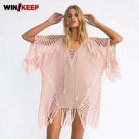 Summer New Mesh Stripe Sexy Perspective Sweet Knitted Beach Dress Women Tassels Hollow Out Swimwear Tops Lace Up Bikini Cover Up