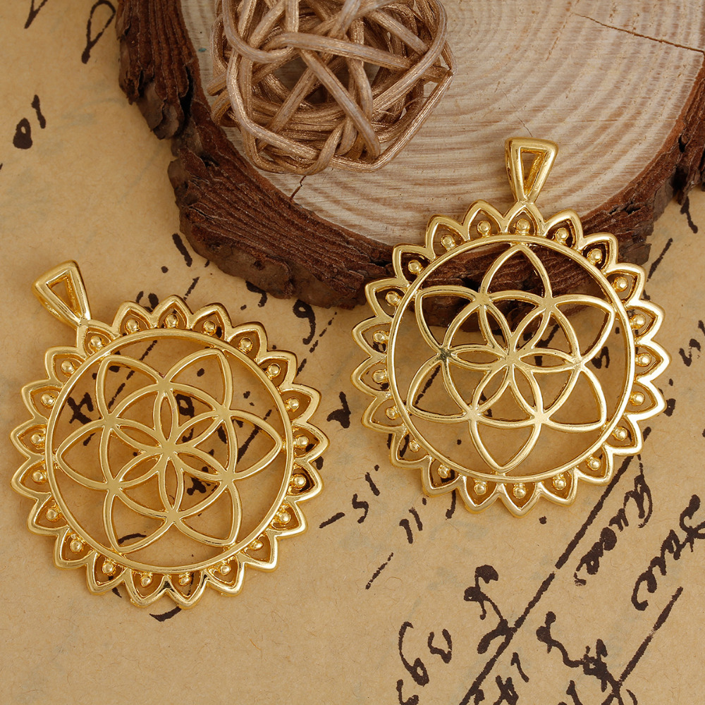 DoreenBeads Zinc Based Alloy Gold Color Round Flower Of Life Hollow Pendants DIY Jewelry Components 48mm x 40mm(1 5/8), 3 PCs