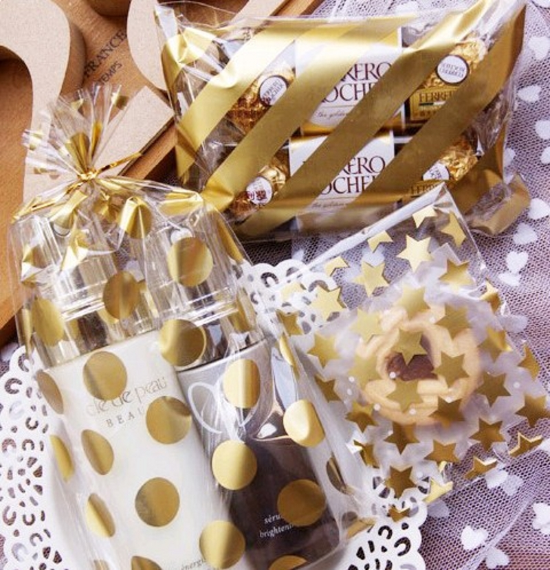 25/50Pcs 8*10+3cm White Golden Stars Candy Cookie Bags Plastic Adhesive Gift Bag Christmas Wedding Birthday Party Favors